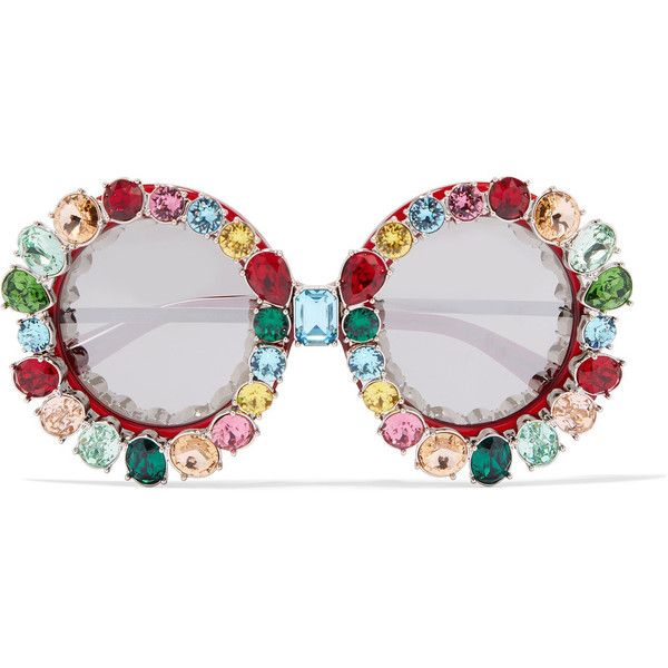 Dolce Gabbana Crystal Embellished Round Frame Acetate And Metal