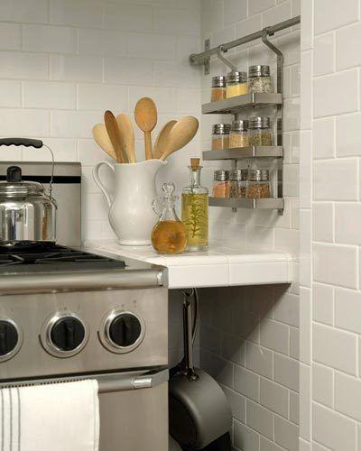 Nice Storage Ideas.... Spice Rack, Utensil Holder, Frying Pan Holder