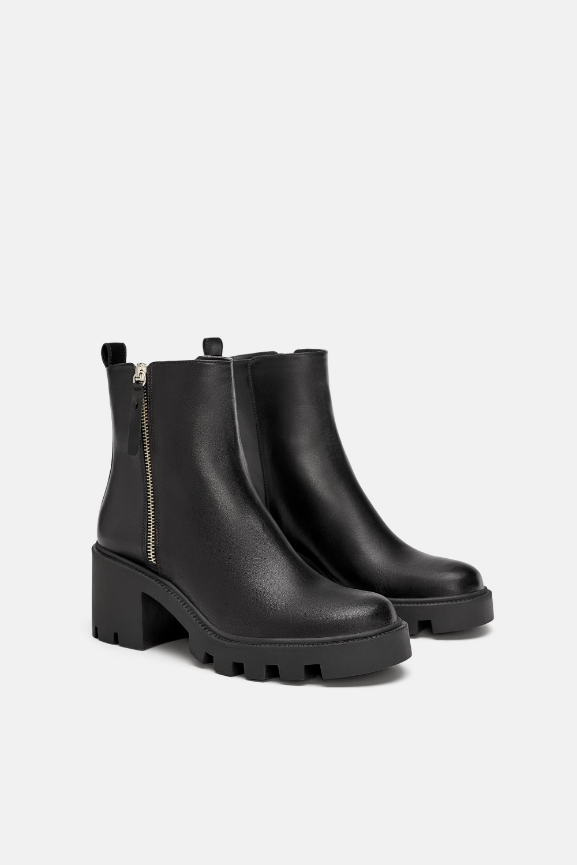 Skorzane Botki Na Traktorze Z Wysciolka Wyswietl Wszystko Buty Kobieta Zara Polska Leather Ankle Boots Boots Black Heeled Ankle Boots