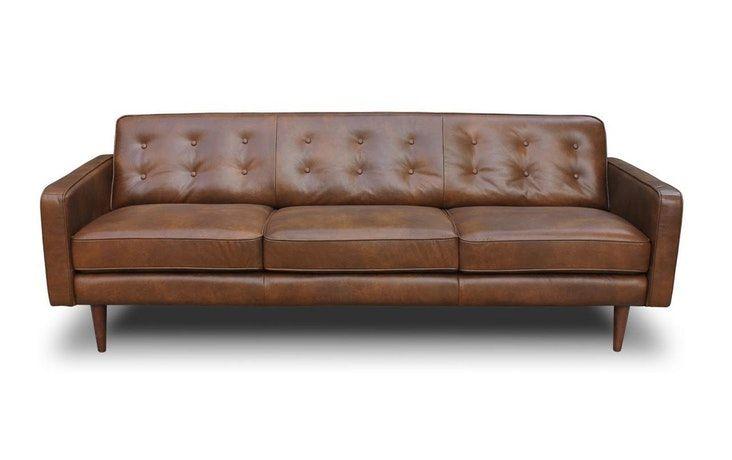 Midinmod Leather Sofa Braxton Mid Century Style
