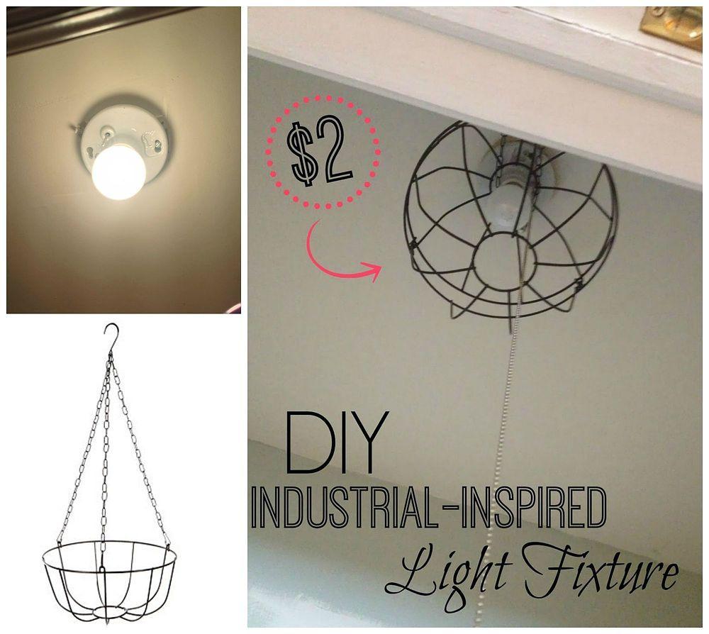 Dollar Store Hanging Garden Basket Light Fixture Lighting Wire Diy Repurposing Upcycling Using Baskets