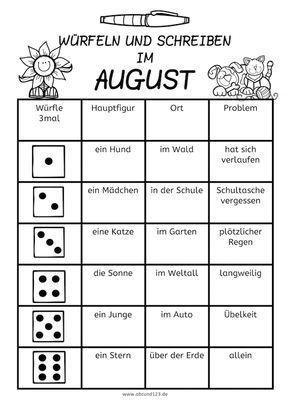 Würfeln und Schreiben im August, AFS-Methode, Arbeitsblatt, DAF, DAZ ...