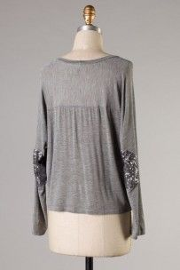 Glam Party Top-Grey