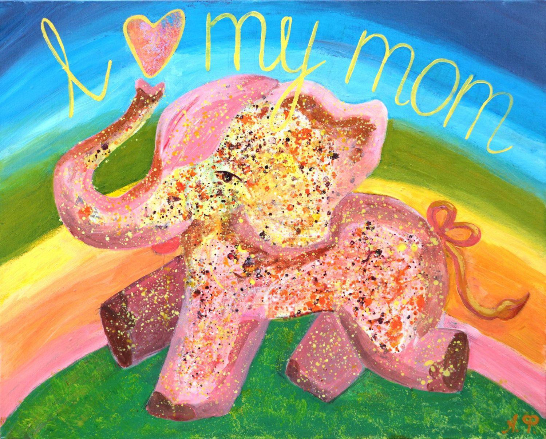 Pink Elephant Art, Nursery Wall Art, Acrylic Painting Girls Room, Boy Girl  Room