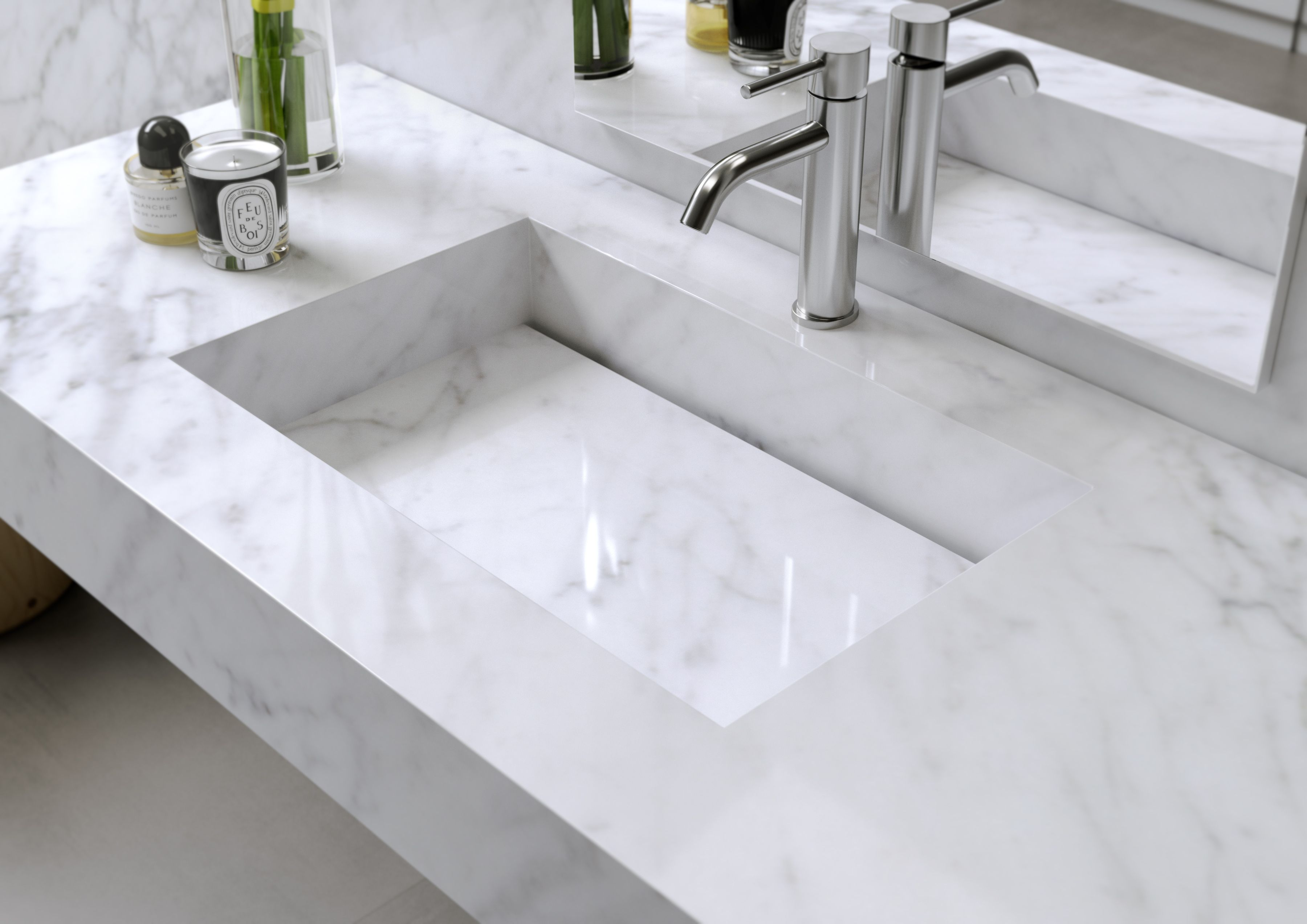 Plan vasque en Marbre Carrara / Sink in authentic Marble Carrara