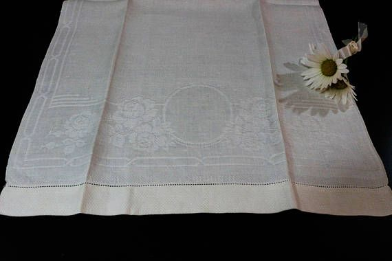 Vintage Linen Table Runner  Grape Damask Linen  Guest Towel  Tea Towel
