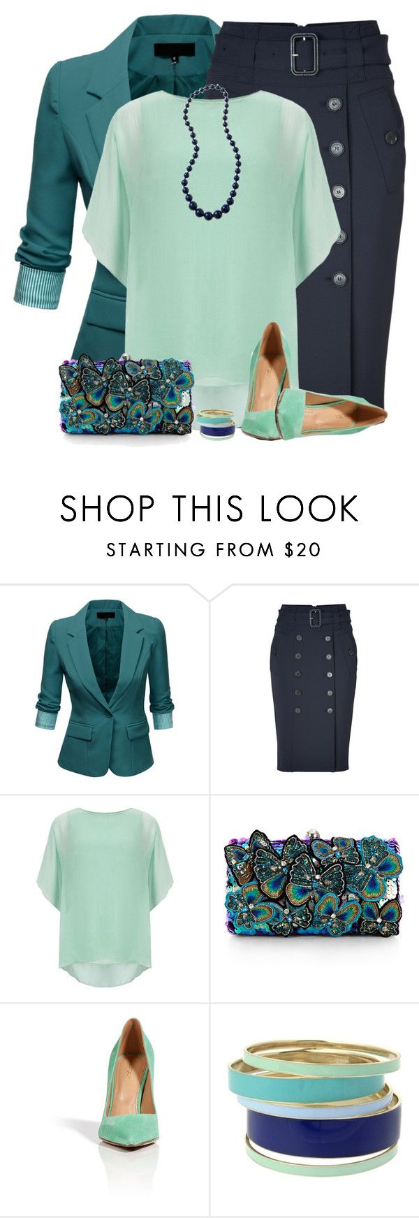 """""""Blue and Green"""" by daiscat ❤ liked on Polyvore featuring J.TOMSON, Burberry, Phase Eight, Rachel, Accessorize, Sergio Rossi and Lipsy"""