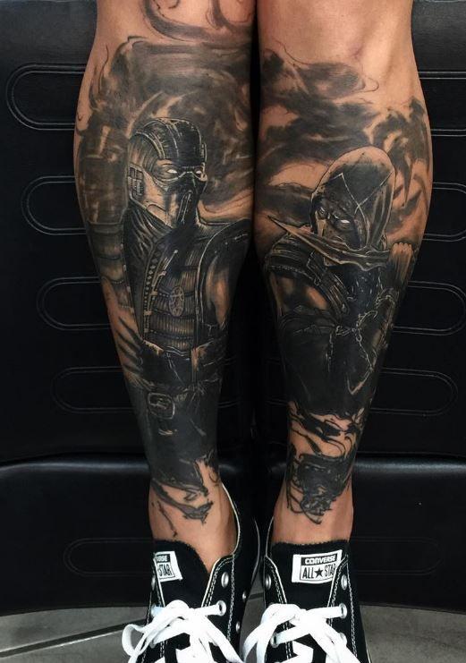 Black And Gray Mortal Kombat Tattoo Inkstylemag Mortal Kombat