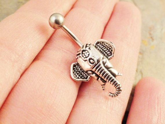 Indischer Elefant Silber Bauchnabel Ring von MidnightsMojo auf Etsy