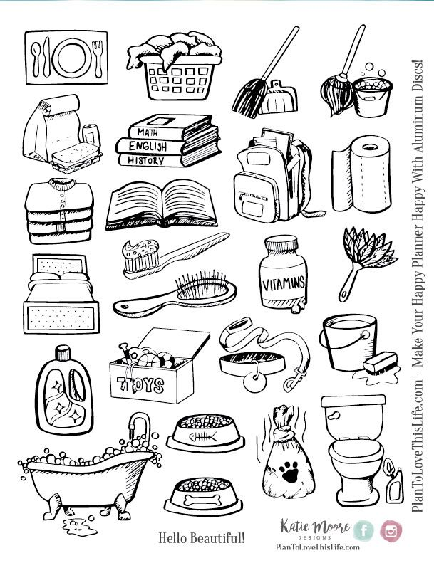 Hand Drawn Chore Icons Printable - Plan To Love This Life