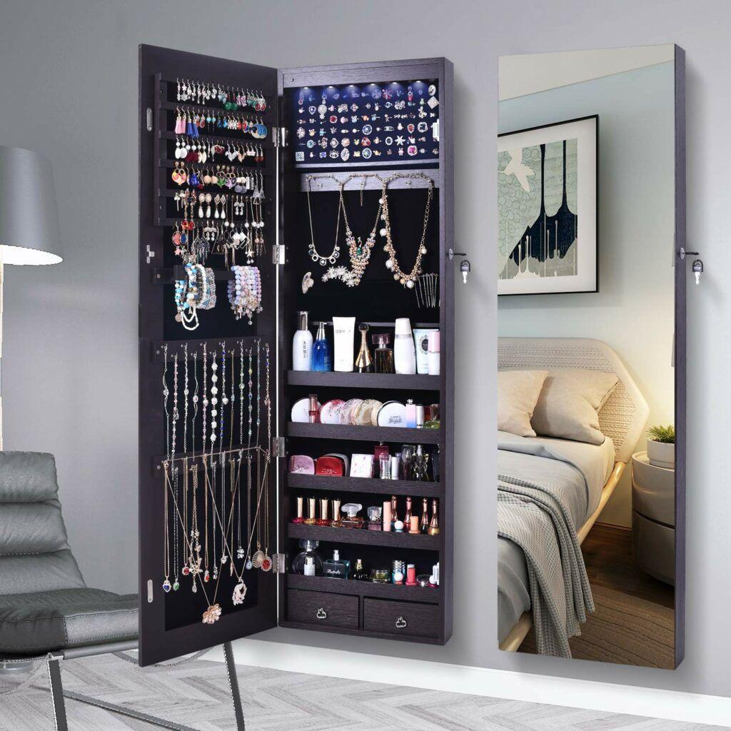 AOOU Jewelry Organizer Jewelry Cabinet,Full Screen Display ...
