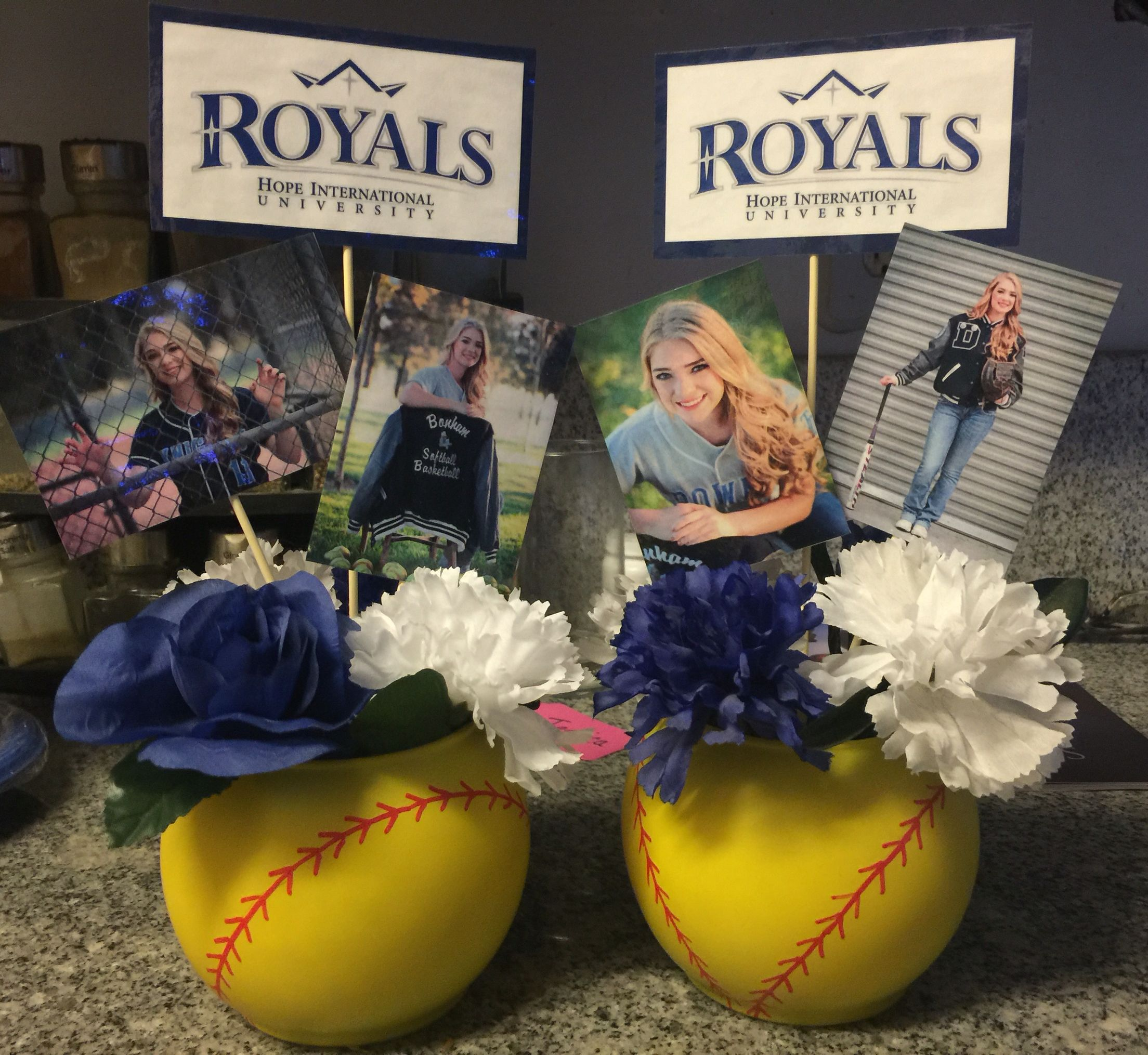College Softball Centerpieces