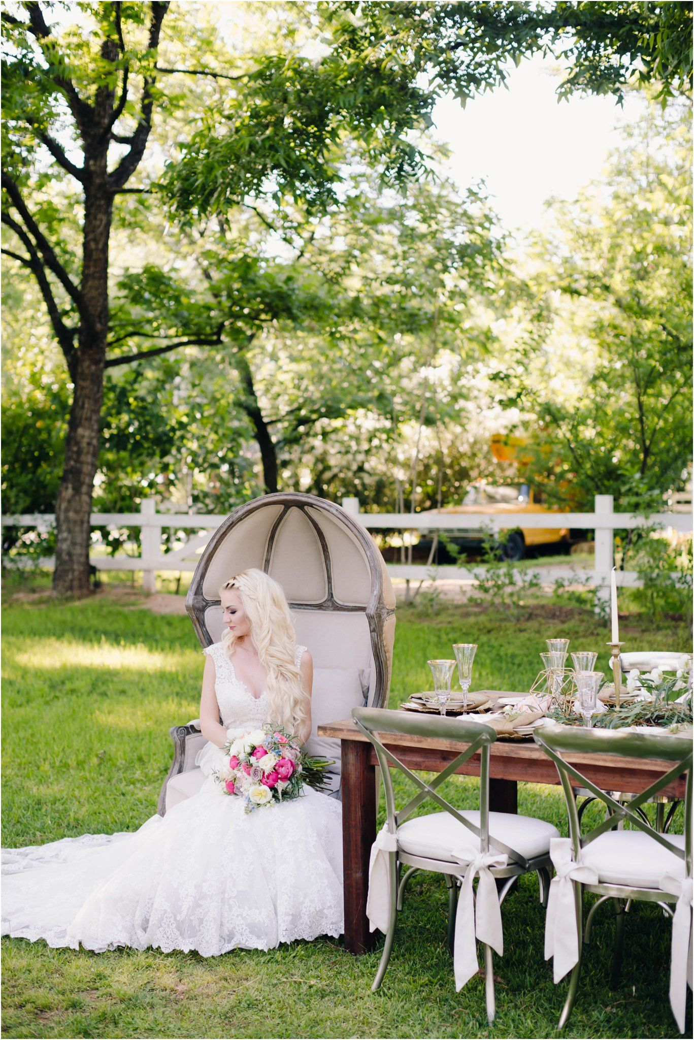 Garden party inspiration  Elegant and Whimsical Garden Wedding Inspiration at the Venue at the