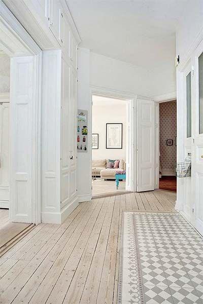 Decoração Azulejo e madeira no piso Hall, Interiors and House