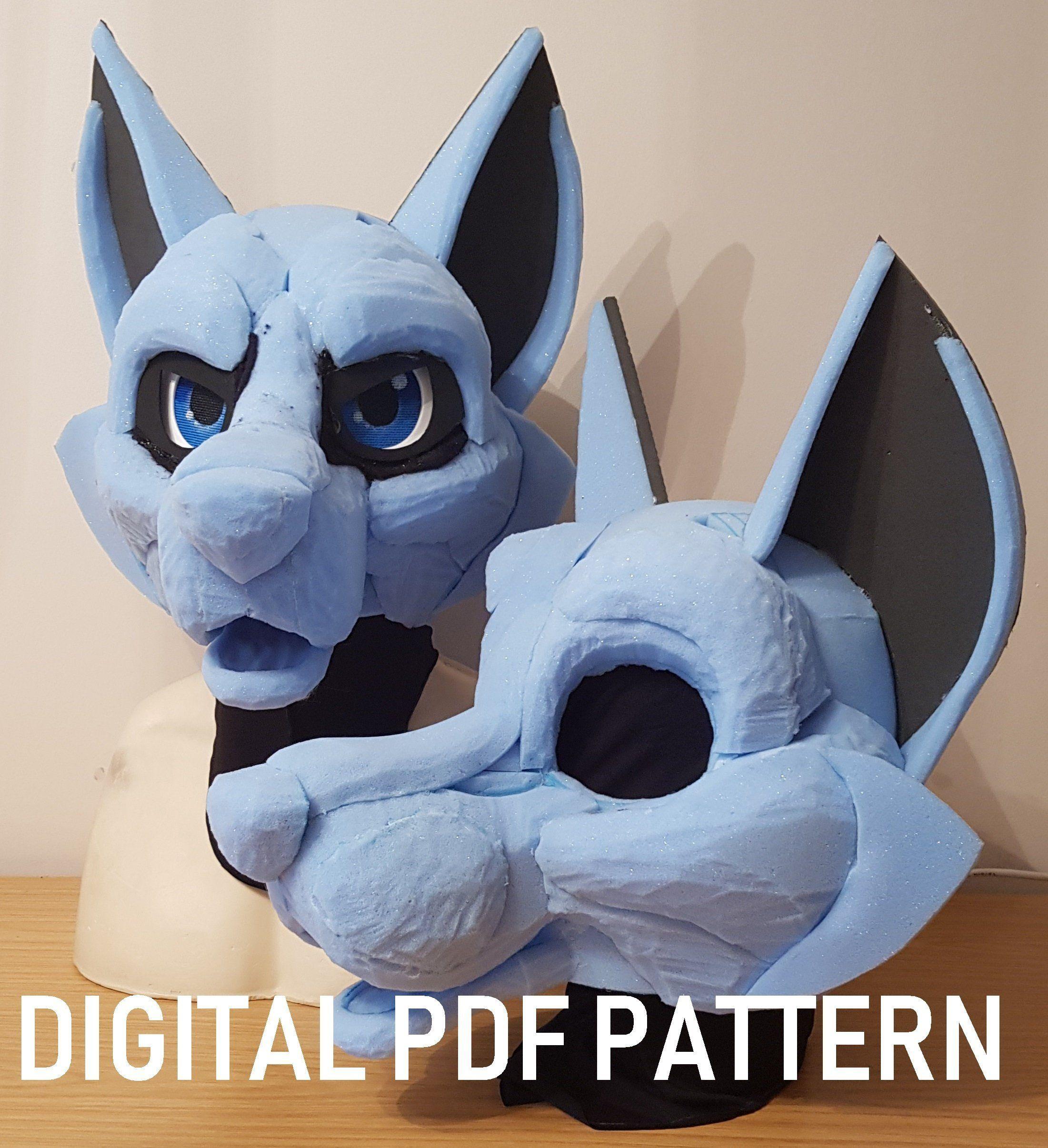Pdf Template Fursuit Head Base Canine Digital Download Etsy Fursuit Head Fursuit Fursuit Tutorial