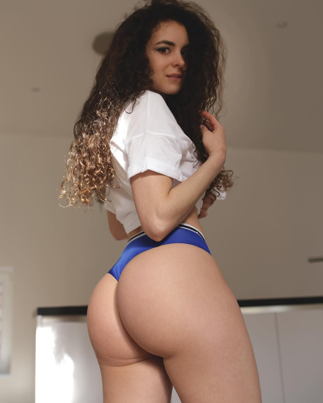 Brunette with round ass