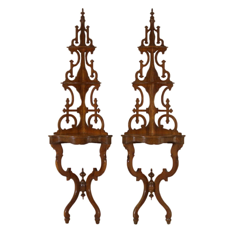 Pair of Corner Cabinets Walnut Italy Mid 19th Century ... on Corner Sconce Shelf Cabinet id=11373