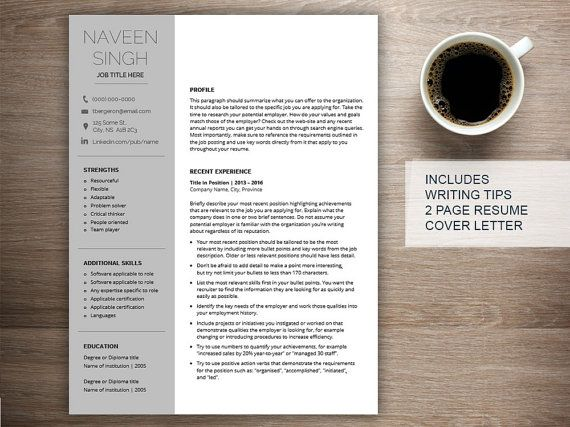 Professional resume template for word, cover letter + references, 2 - a resume format