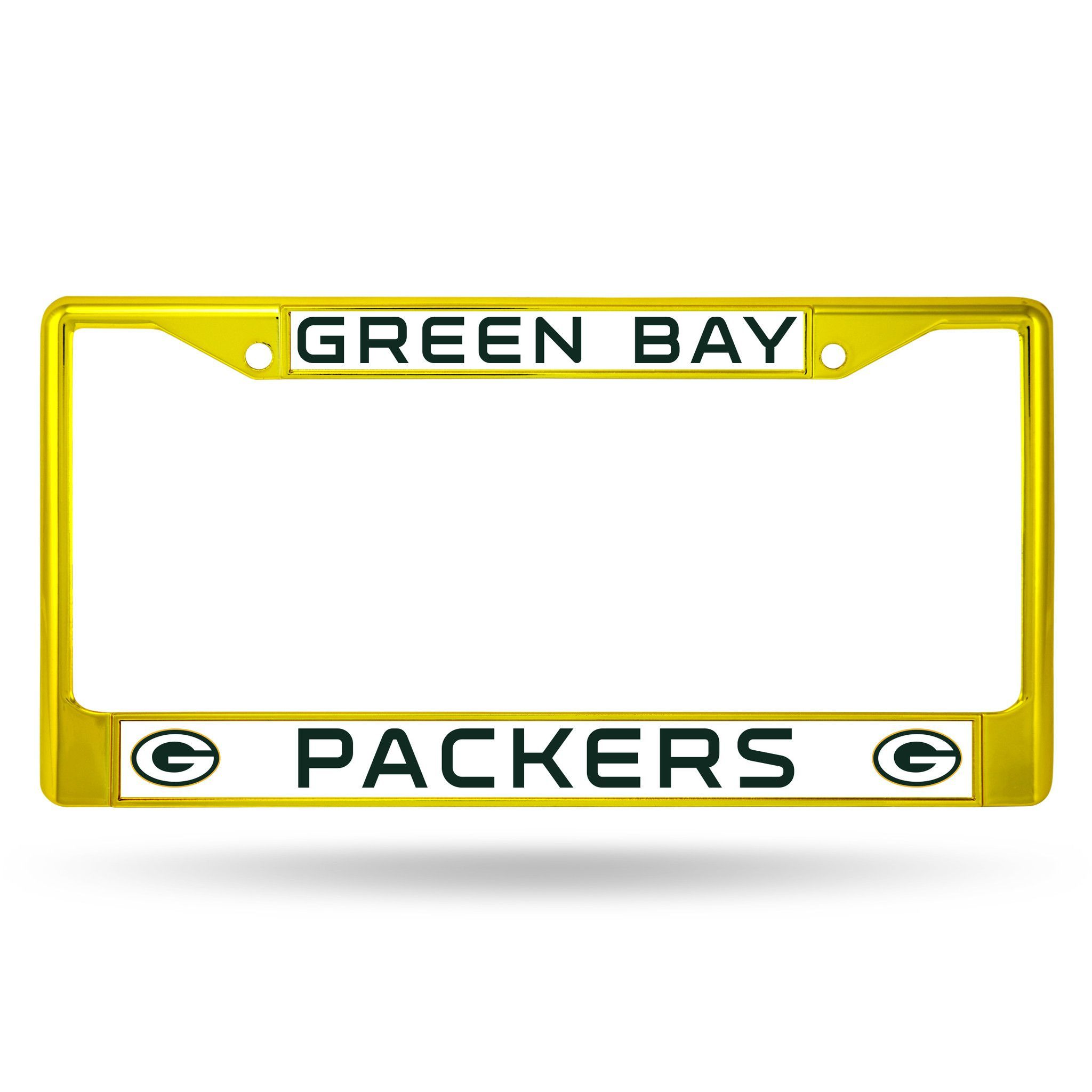 Green Bay Packers Color Chrome Metal License Plate Frame New Free Shipping Gold License Plate Covers License Plate Frames Steelers License Plate
