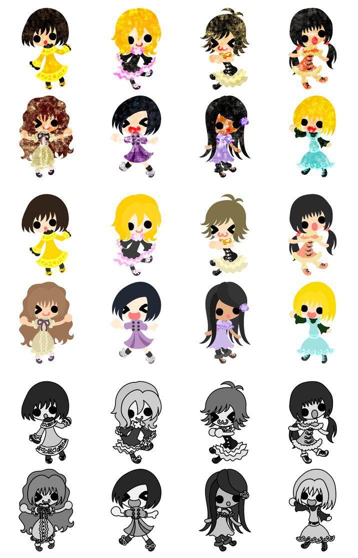 フリーのイラスト素材可愛い女の子のアイコン The Icons Of Cute