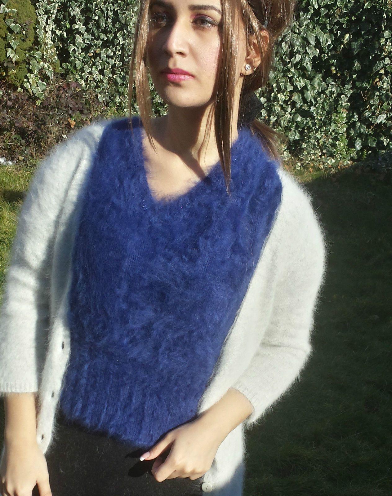 Gorgeous Handknitted Fluffy Pure 100 Angora Sweater Jumper in Dark ...