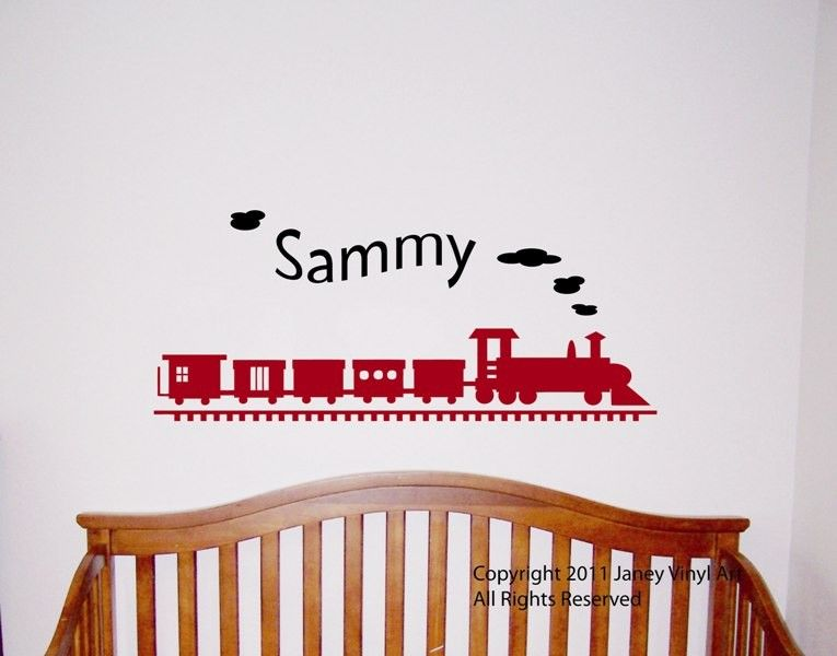 Boys Train with Name Wall Decal - Train Monogram Bedroom Wall Art Vinyl . $34.95 via Etsy.  sc 1 st  Pinterest & Boys Train with Name Wall Decal - Train Monogram Bedroom Wall Art ...