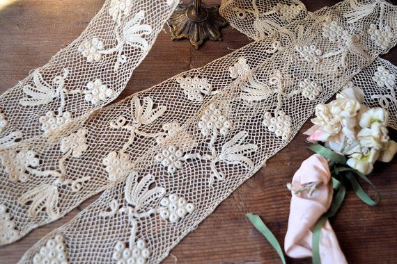 3 meters of antique handmade Irish lace by Feemainvintagestyle