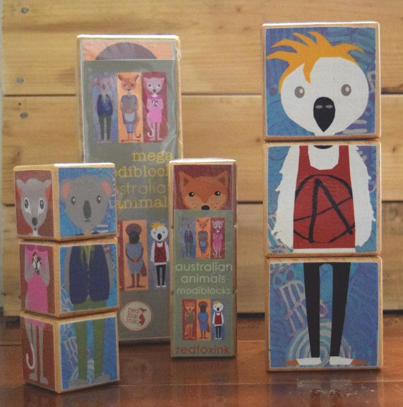 Australian Animal wooden stackable Modiblock by redfoxink on Etsy