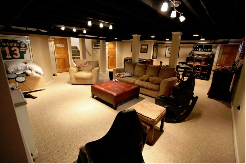 Exposed Ceiling Painted Black, Lighting, Finished Walls And Wall To Wall  Carpet