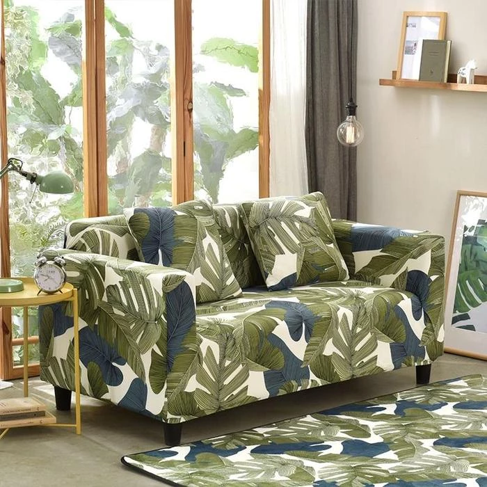 Green Grey Botanical Sofa Cover Couch Covers Arm Chairs Living Room Couch Covers Slipcovers