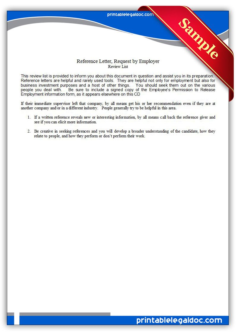 Free Printable Reference Letter Request By Employer Legal Forms