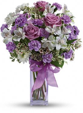 Dwarf Iris And Rose Arrangements Teleflora S Lavender Laughter Bouquet Floral Arrangments Lavender Roses Lilac Bouquet Flowers