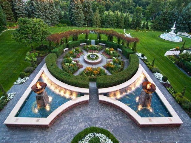 inselbeet gestalten architektonisches highlight gartenideen fr wasserspiele - Gartenideen