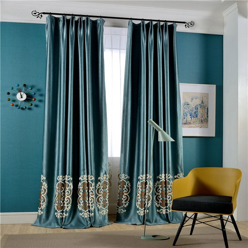High Shading Blackout Curtain Embroidered Tulle European