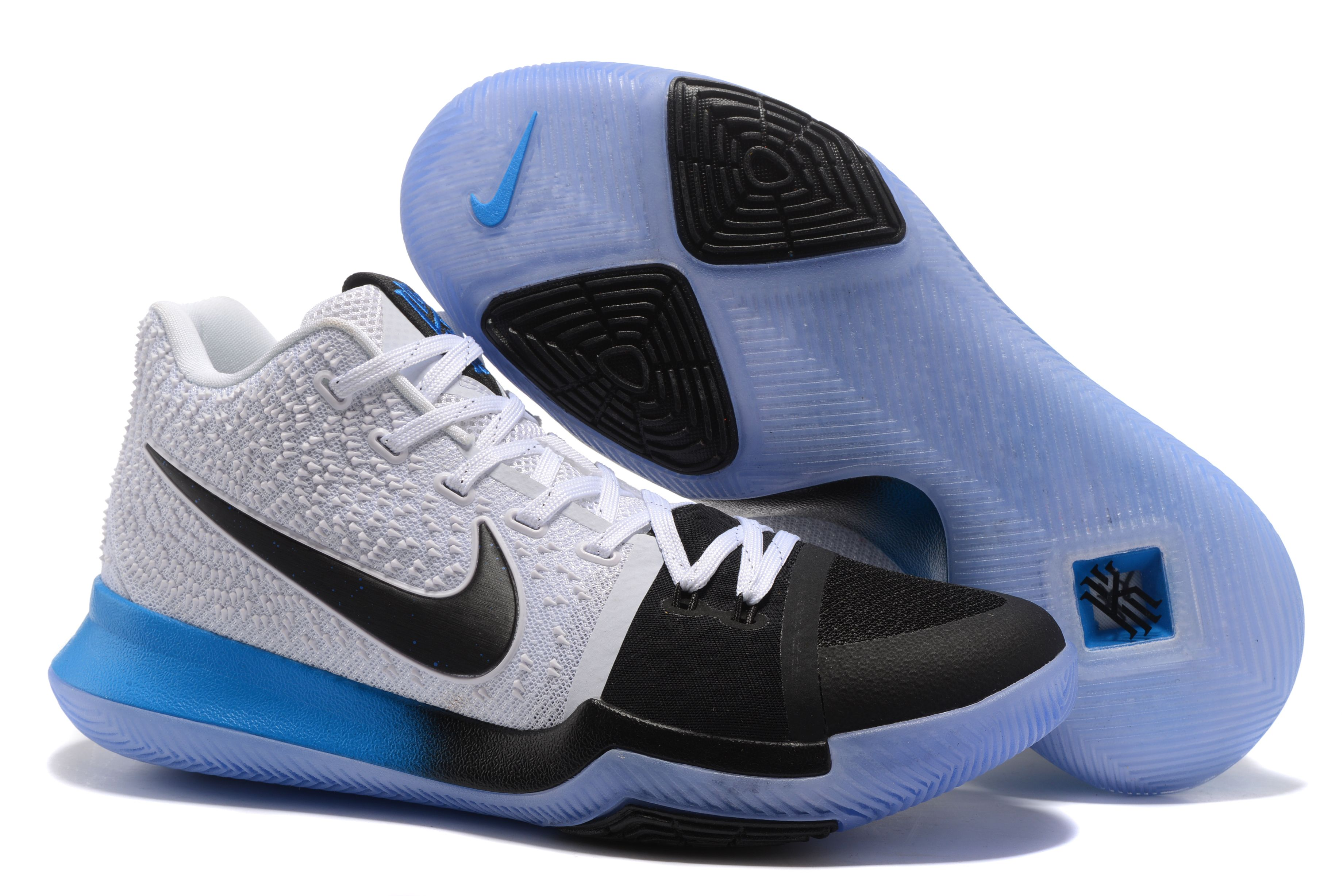796ca4c64ed 2017 Nike Kyrie 3 PE White Black with Gradient Blue Black For Sale ...