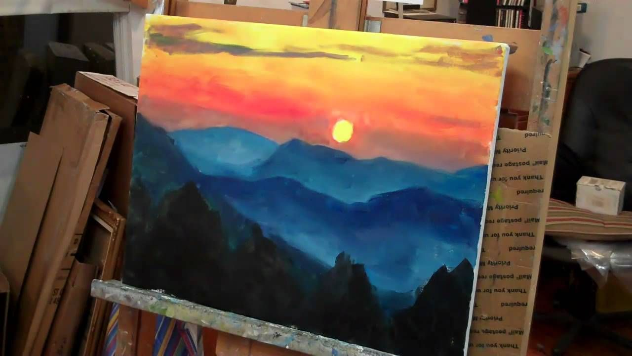 Paint A Mountain Sunset In Acrylics Mountain Sunset Painting
