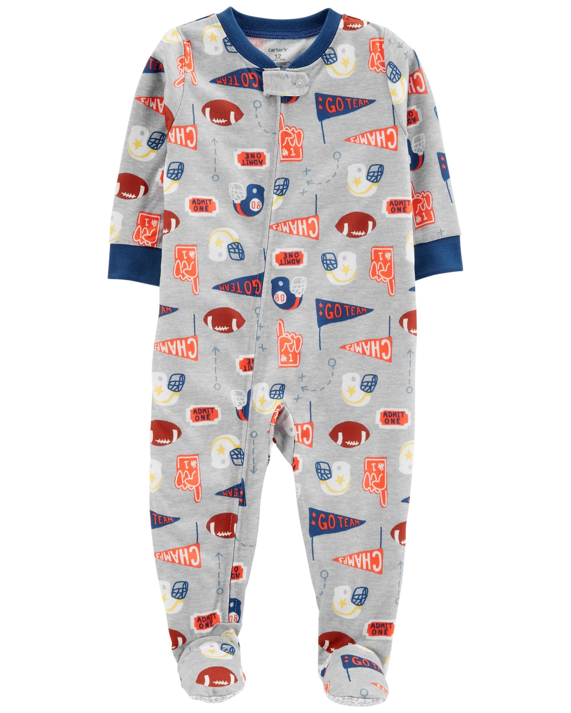 92cdc9633 Crafted in soft polyester, this 1-piece takes him from nap time to play  time in no time! Zip-up design makes for quick changes and easy dressing.