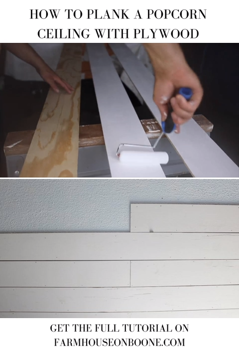 Learn how to plank a popcorn ceiling with plywood, an easy way to cover up a popcorn ceiling!