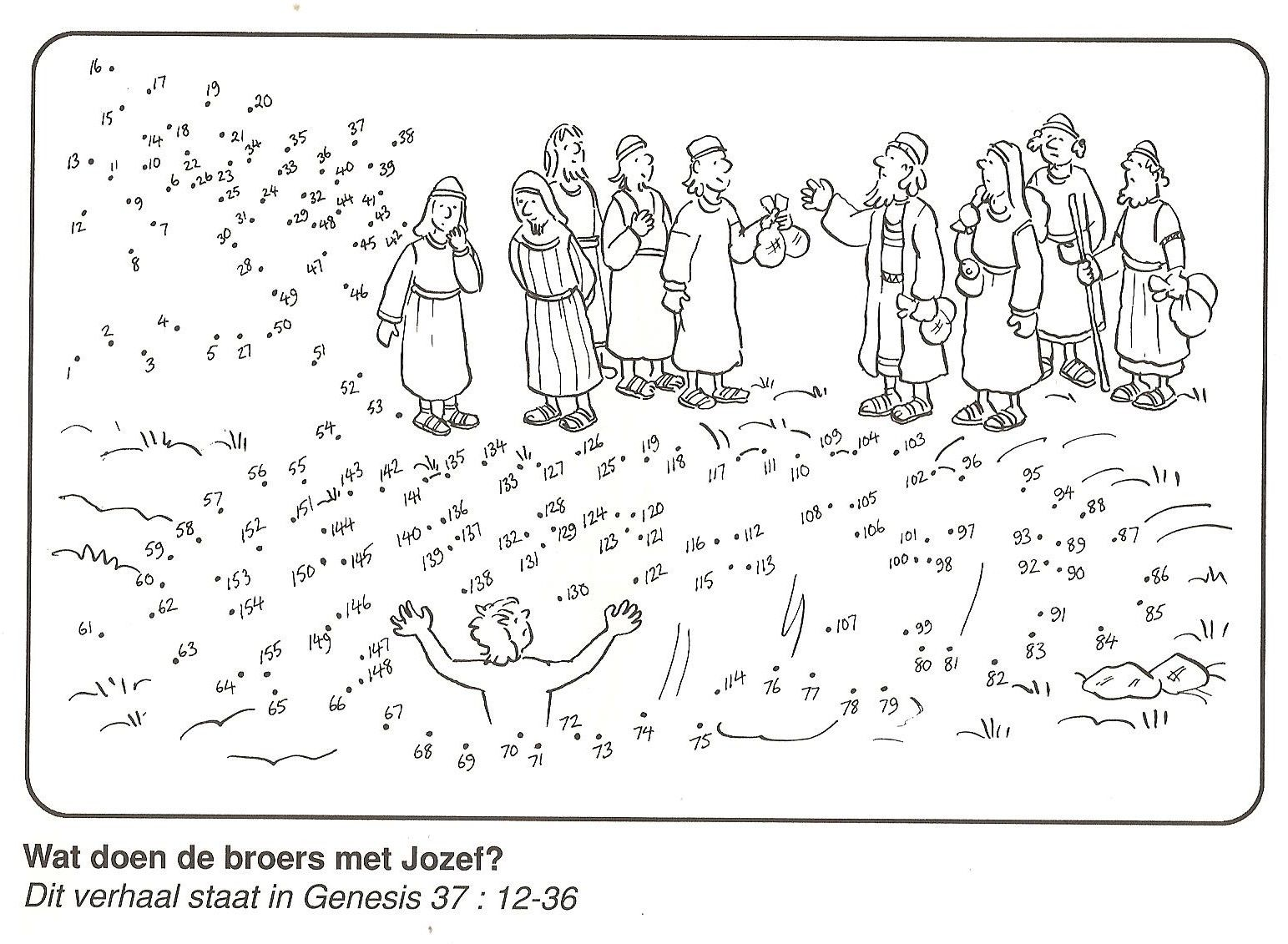 Joseph Thrown Into The Pit Genesis 37 Dot To Dot Printable Sunday School Bible School Crafts Bible Activities Bible Crafts