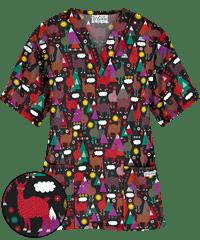 dd6070cdac5 UA Llama Luck Black Two Pocket Print Scrub Top | scrubs | Tops ...