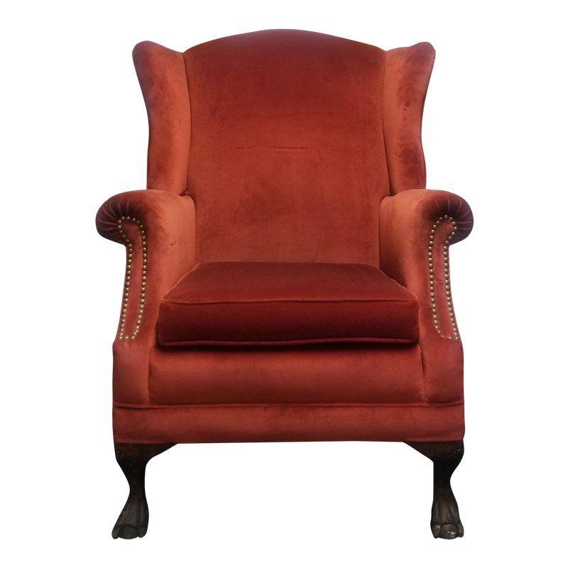 Vintage French Provincial Orange Velvet Wingback Chair in 2018