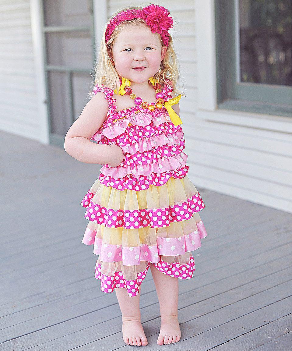 Love this rose u yellow polka dot ruffle dress infant u toddler by