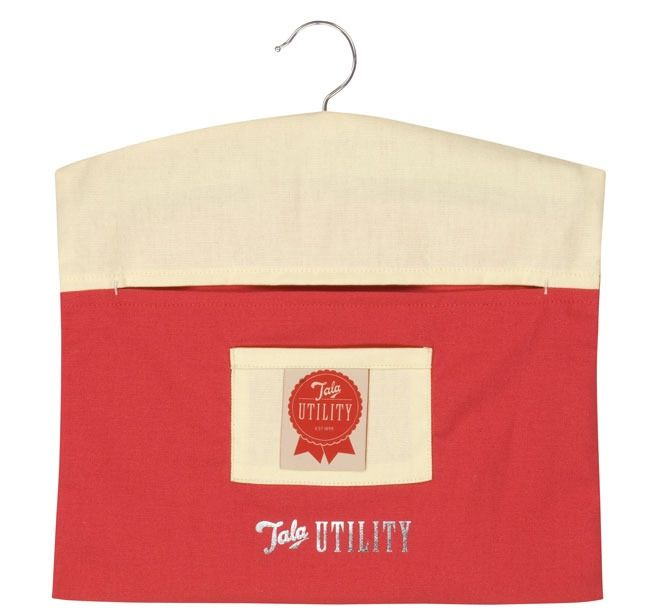 With Sturdy Wood Hanger Front Pocket Red And Cream 100 Cotton