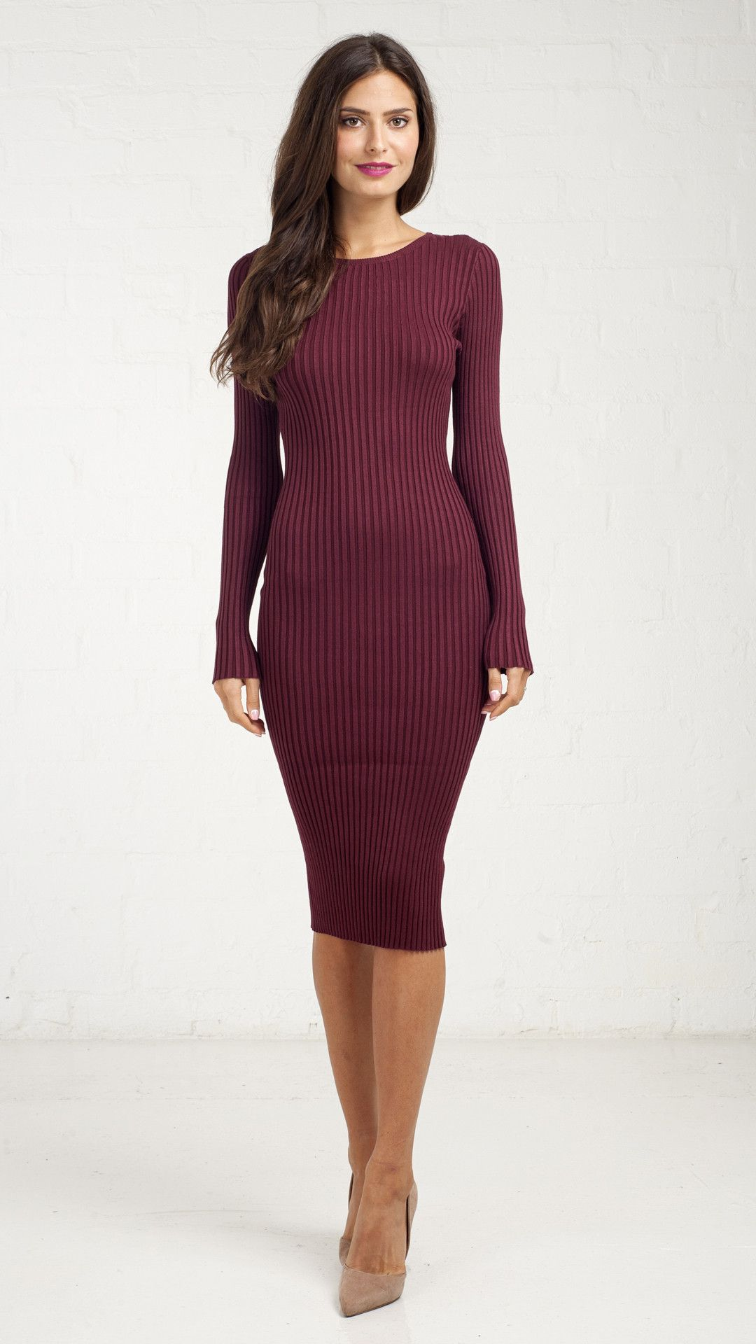 Fitted Ribbed Long Sleeve Pencil Dress - Burgundy | Dress to ...