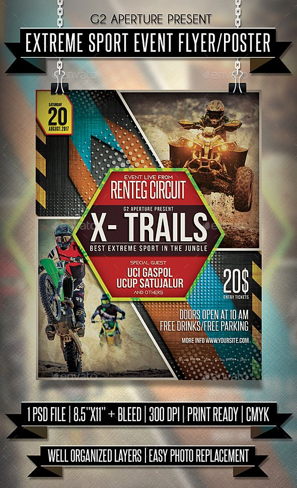 Extreme Sport Event Flyer  Poster  Event Flyers Template And