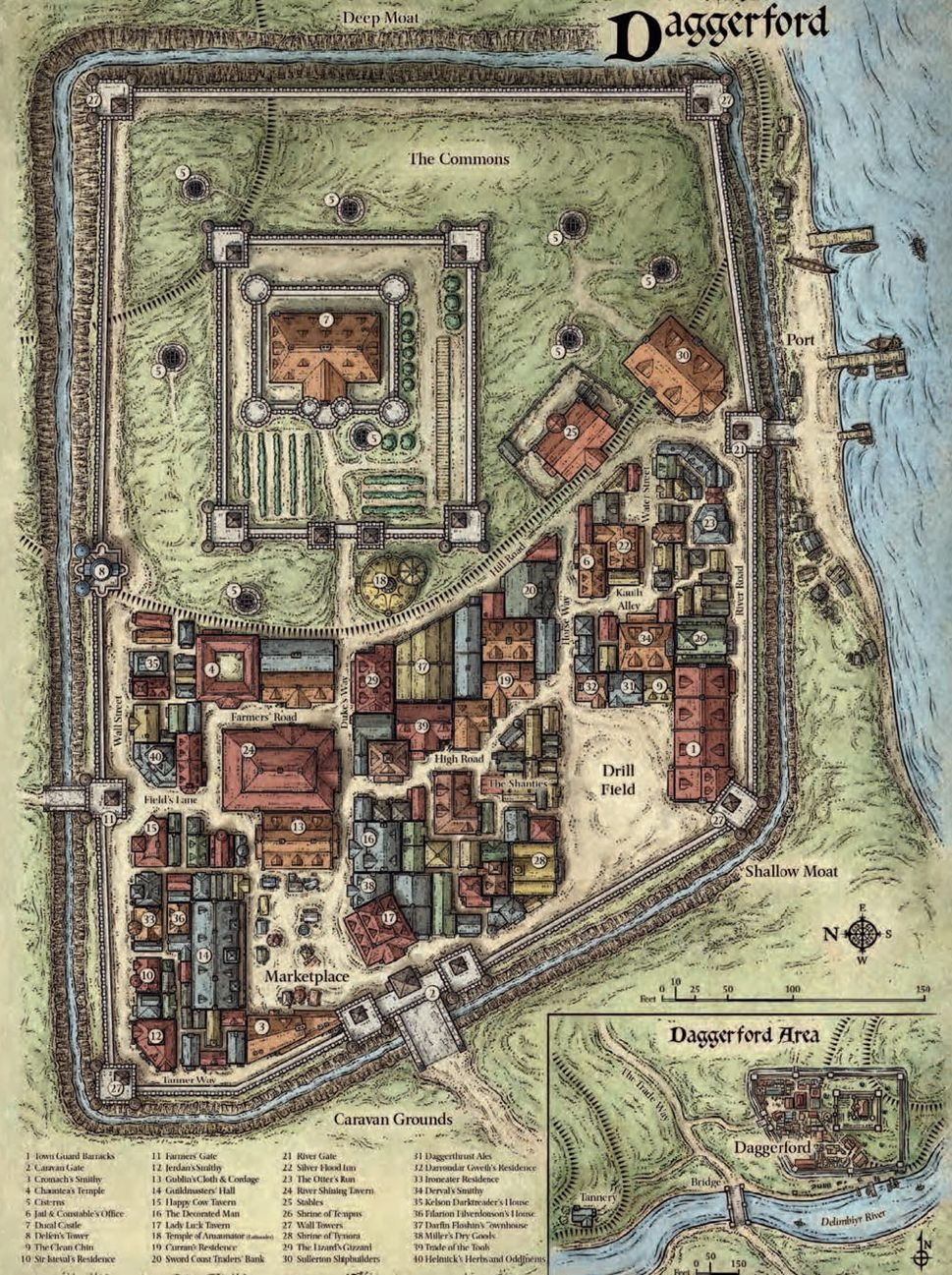 Map of the city of Daggerford in Toril, released by Wizards of the
