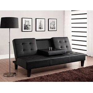 Dhp Julia Convertible Futon With Drink Holder In Black Faux Leather Walmart Com Leather Futon Futon Sofa Bed Futon Sofa