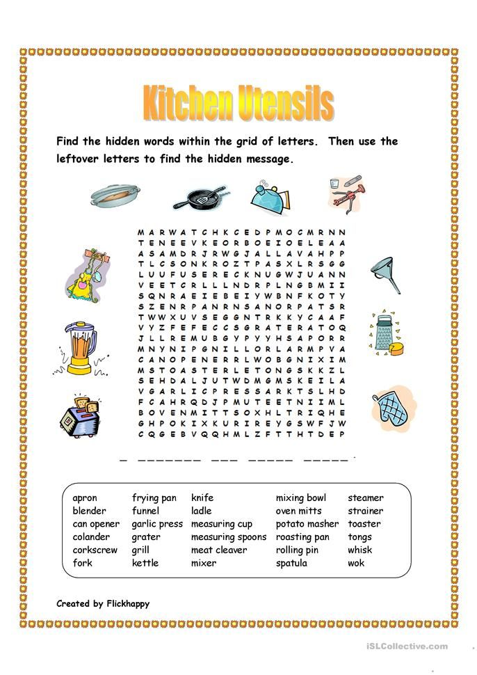 Printable Worksheets tlc worksheets : Kitchen Utensils Wordsearch | Safety and Life Skills Class ...