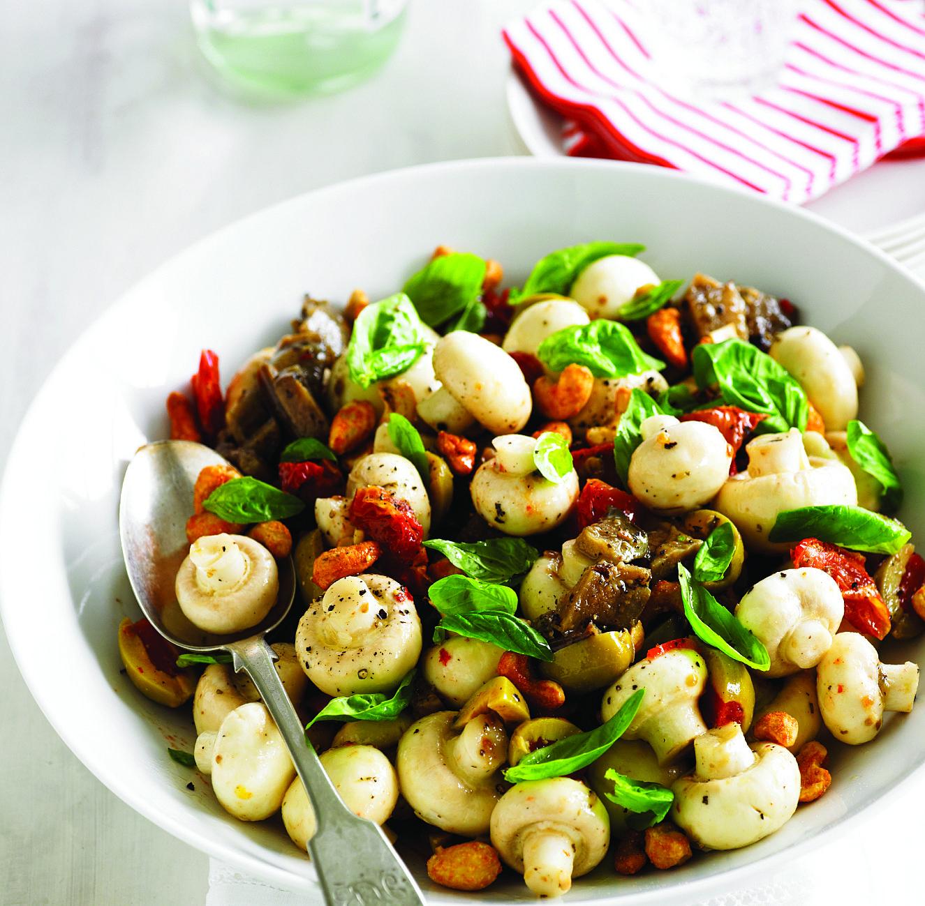 Mushroom antipasto salad recipe courtesy of the australian mushroom antipasto salad recipe courtesy of the australian mushroom growers association forumfinder Choice Image