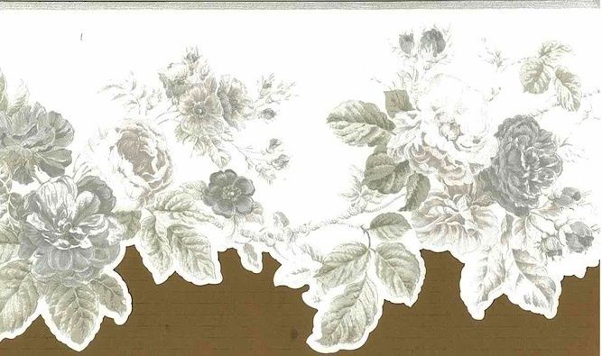 Wallpaper Border Rose Floral Silver White Textured Glaze